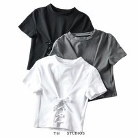 T-shirt White [539], gray [539], black [539] S, M Summer 2020 Short sleeve Crew neck Self cultivation have cash less than that is registered in the accounts routine street cotton 96% and above Bandage Europe and America