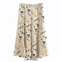 skirt Summer 2020 S,M,L Picture color [2836] Mid length dress street Natural waist Decor printing Europe and America