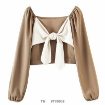 shirt White, brown Average size Spring 2021 other 31% (inclusive) - 50% (inclusive) Long sleeves street square neck Socket routine Self cultivation Frenulum Europe and America
