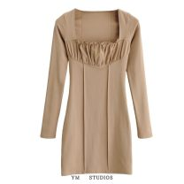 Dress Spring 2021 Camel [20282], bean green [20282], black [20282] S, M Short skirt singleton  Long sleeves street square neck High waist Solid color Socket routine Splicing 51% (inclusive) - 70% (inclusive) cotton Europe and America