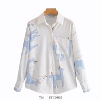 shirt Picture color S, M Autumn 2020 other 51% (inclusive) - 70% (inclusive) Long sleeves street Regular Polo collar Single row multi button printing Europe and America