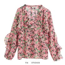 shirt XS,S,M,L Spring 2020 other 51% (inclusive) - 70% (inclusive) Long sleeves street Regular V-neck Socket Broken flowers Ruffle, print Europe and America