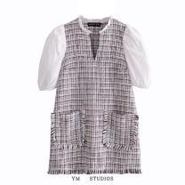 Dress Autumn 2020 XS,S,M,L Short skirt singleton  Short sleeve street Socket Splicing Europe and America