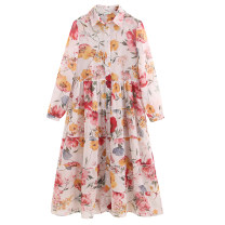 Dress Summer of 2019 S,M,L longuette Two piece set Long sleeves street Polo collar Decor printing Chiffon Europe and America
