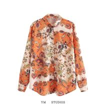 shirt Picture color [3171] S,M,L Autumn 2020 other 51% (inclusive) - 70% (inclusive) Long sleeves street Regular Polo collar Single row multi button shirt sleeve Broken flowers printing Europe and America