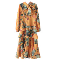Dress Spring 2020 Picture color [2793] S,M,L longuette singleton  Long sleeves street Decor Socket Bow, print Europe and America