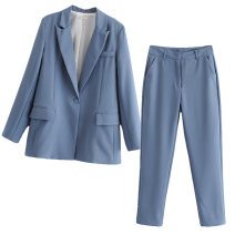 suit Autumn of 2019 S,M,L Nine point sleeve routine tailored collar A button street Solid color