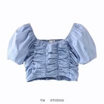 shirt S,M,L Summer 2020 cotton 51% (inclusive) - 70% (inclusive) Short sleeve street square neck Socket Solid color Self cultivation Europe and America