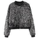 short coat Autumn of 2018 M, L Black, silver Long sleeves routine singleton  easy street zipper Sequins