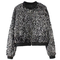short coat Autumn of 2018 M, L Black, silver Long sleeves routine singleton  easy street zipper Sequins