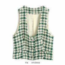 Vest Autumn 2020 Picture color [2806] XS,S,M,L have cash less than that is registered in the accounts V-neck street lattice Single breasted