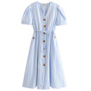 Dress Summer of 2019 Picture color [60193] S,M,L Mid length dress singleton  Short sleeve street V-neck stripe Single breasted Button dwdd1906601419 Europe and America