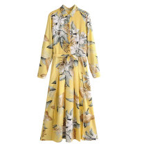 Dress Spring 2020 Design and color [693] S,M,L longuette singleton  Long sleeves street Polo collar Decor shirt sleeve printing Europe and America