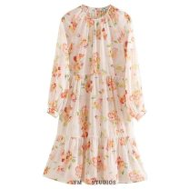 Dress Summer 2020 Design and color [9402] XS,S,M,L Middle-skirt singleton  Long sleeves street Crew neck Decor Socket printing Europe and America