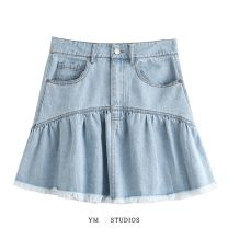 skirt Summer 2020 S,M,L Picture color [1505] Short skirt street High waist A-line skirt Solid color Type A 81% (inclusive) - 90% (inclusive) Denim Europe and America