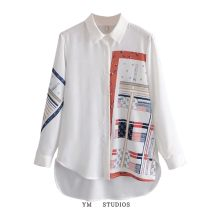 shirt white Average size Spring 2021 cotton 51% (inclusive) - 70% (inclusive) Long sleeves street Medium length Polo collar Single row multi button routine Straight cylinder printing Europe and America