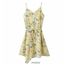 Dress Summer 2020 Picture color M, L Mid length dress singleton  Sleeveless street V-neck Decor Socket camisole printing Europe and America