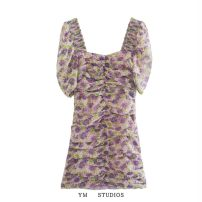 Dress Summer 2020 Picture color [4381] XS,S,M,L Short skirt singleton  Short sleeve street square neck High waist Decor Socket printing More than 95% Chiffon Europe and America