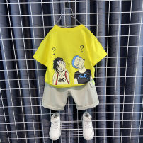suit Other / other Yellow, green 90cm,100cm,110cm,120cm,130cm,140cm male summer leisure time Short sleeve + pants 2 pieces Thin money No model Socket nothing Cartoon animation cotton children Expression of love Class B Cotton 100% Chinese Mainland