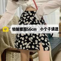 skirt Summer 2020 XXS,XS,S,M black Short skirt Versatile High waist A-line skirt Broken flowers Type A other polyester fiber