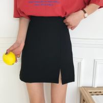 skirt Summer of 2018 S,M,L Apricot, black, pumpkin, orange Short skirt commute High waist A-line skirt Solid color Type A 18-24 years old other Other / other other Korean version
