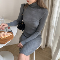 Dress Autumn 2020 Black, dark grey Average size Mid length dress singleton  Long sleeves commute High collar middle-waisted Solid color Socket One pace skirt routine Others 18-24 years old Type H Ye Xiaobai Korean version ZS3101 51% (inclusive) - 70% (inclusive) knitting