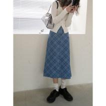 skirt Spring 2021 S, M Denim blue Mid length dress commute High waist A-line skirt lattice Type A 18-24 years old 21Q0006 More than 95% AMBOSC cotton Simplicity