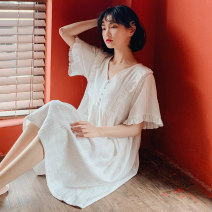Nightdress Gemy / Gemi Fresh and white 160(M) 165(L) Sweet Short sleeve pajamas Middle-skirt summer Solid color youth Crew neck cotton lace More than 95% cotton Short sleeve Fairy Dress 200g and below Summer of 2019 Cotton 100%