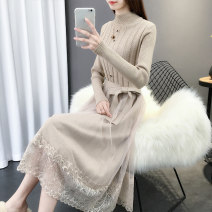 Dress Winter of 2019 7025 apricot 7025 black red S M L XL longuette singleton  Long sleeves commute Half high collar middle-waisted Solid color Socket A-line skirt routine Others 25-29 years old Chimera Korean version Stitching strap button lace P1921 More than 95% other Other 100%