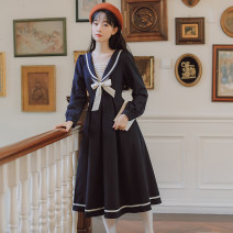 Dress Winter 2020 navy blue S,M,L,XL longuette singleton  Long sleeves other High waist Solid color zipper other routine Others 18-24 years old Type A Other / other Splicing 71% (inclusive) - 80% (inclusive) other other
