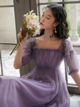 Dress Summer 2020 violet S,M,L Miniskirt Short sleeve commute square neck High waist Princess Dress puff sleeve Retro