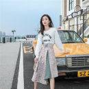 Dress Autumn 2020 Color matching S, M Miniskirt Fake two pieces Long sleeves commute Crew neck Socket routine Type A Other / other 8986#