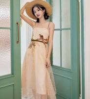 Dress Summer of 2019 S,M,L Miniskirt singleton  commute One word collar middle-waisted Decor camisole Type A Other / other Simplicity