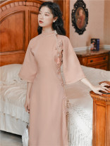 Dress Autumn 2020 Pink with accessories S,M,L Miniskirt singleton  elbow sleeve commute Solid color Others Type A Retro