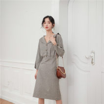 Dress Autumn of 2019 Grey coffee pattern S,M,L Miniskirt singleton  Long sleeves commute V-neck High waist Three buttons routine Others 25-29 years old Type H Other / other Korean version Frenulum 9120# polyester fiber