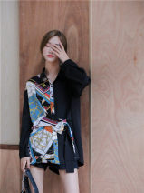 Dress Autumn of 2019 black S,M,L Short skirt singleton  Long sleeves commute Polo collar Loose waist Solid color Single breasted other routine Others 18-24 years old Other / other Korean version 31% (inclusive) - 50% (inclusive) other
