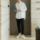 shirt Youth fashion CHICERRO S,M,L White long sleeves, blue and white short sleeves routine Pointed collar (regular) Long sleeves easy Other leisure spring teenagers tide 2020 No iron treatment Splicing Easy to wear