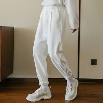 Casual pants CHICERRO Youth fashion White, black S,M,L,XL routine trousers Other leisure easy spring teenagers tide 2021 High waist Little feet Tapered pants Hem at hem No iron treatment Solid color