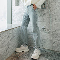 Jeans Youth fashion CHICERRO S,M,L,XL Blue, dark grey thick Micro bomb Heavy denim trousers Other leisure winter teenagers Medium high waist Fitting straight tube tide 2020 Little straight foot zipper washing Three dimensional tailoring Wash with water, no iron treatment