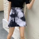 skirt Autumn 2020 S,M,L,XL Blue, black Short skirt Retro High waist Denim skirt other Type A 18-24 years old Denim cotton tie-dyed