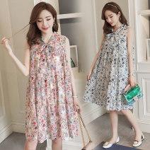 Dress Other / other Pink, white M,L,XL,XXL Korean version Sleeveless Medium length summer other Hand painted Chiffon