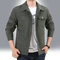 Jacket Benson Farley Fashion City Army green and royal blue 4XL M L XL 2XL 3XL routine easy Travel? autumn BS5018 Polyester 91.3% polyamide 8.7% Long sleeves Wear out Lapel Military brigade of tooling middle age short double-breasted Cloth hem washing Closing sleeve Solid color Autumn of 2019