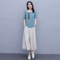 Fashion suit Summer 2021 M L XL XXL Blue yellow 25-35 years old Aylie A88953 Cotton 65.8% flax 34.2%