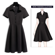 Dress Summer 2020 Black short sleeve S M L XL 2XL Middle-skirt singleton  Short sleeve commute Polo collar middle-waisted Solid color zipper A-line skirt routine Others 25-29 years old Type A Tang Yijiao Ol style Button zipper C2086 More than 95% brocade other Other 100% Pure e-commerce (online only)