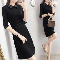 Dress Autumn of 2018 black S M L XL 2XL 3XL Middle-skirt singleton  three quarter sleeve commute Doll Collar middle-waisted Solid color zipper Pencil skirt routine Others 30-34 years old Type X Tang Yijiao Ol style Stitching zipper TYJ18124 30% and below brocade nylon Pure e-commerce (online only)
