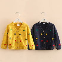 Sweater / sweater 100cm,110cm,120cm,130cm,140cm,150cm cotton female Yellow, dark blue Shell element Korean version No model nothing other my0987 Class B 2, 3, 4, 5, 6, 7, 8, 9, 10, 11, 12, 13, 14 years old