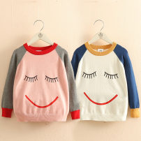 Sweater / sweater female Shell element spring and autumn nothing leisure time routine Condom No model in real shooting Cartoon animation other tx9885 Class B 2, 3, 4, 5, 6, 7, 8, 9, 10, 11, 12, 13, 14 Grey sleeves in pink, blue sleeves in white 90cm,100cm,110cm,120cm,130cm,140cm