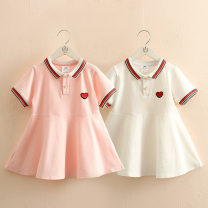 Dress White, pink female Shell element 90cm,100cm,110cm,120cm,130cm,140cm Other 100% summer Korean version Short sleeve other other other Class B 14, 13, 12, 11, 10, 9, 8, 7, 6, 5, 4, 3, 2 years old