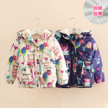 Cotton padded jacket female No detachable cap other Shell element White, Navy 90cm,100cm,110cm,120cm,130cm,140cm Korean version No model Class C 2, 3, 4, 5, 6, 7, 8, 9, 10, 11, 12, 13, 14 years old