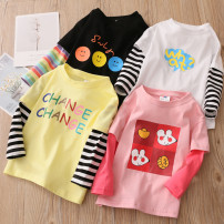 T-shirt White, yellow, black, pink Shell element 90cm,100cm,110cm,120cm,130cm,140cm female spring and autumn Long sleeves other other Other 100% txb078 Class B 2, 3, 4, 5, 6, 7, 8, 9, 10, 11, 12, 13, 14 years old